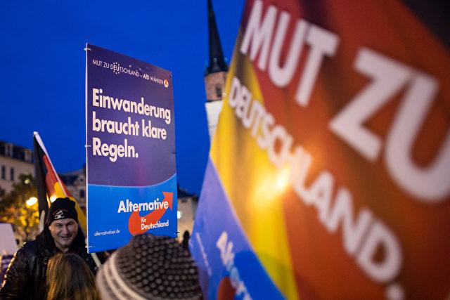 Ein Bild von an einer AfD-Demo in Halle Foto: Jens Schlueter/Getty Images