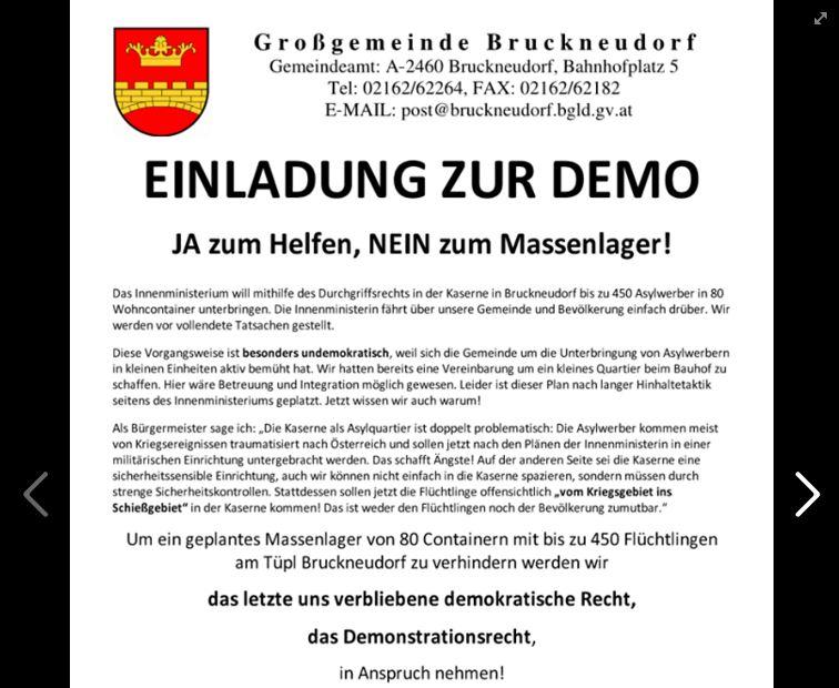 Österreich: Bruckneudorfer Bürgerproteste gegen Asyl-Massenlager erfolgreich
