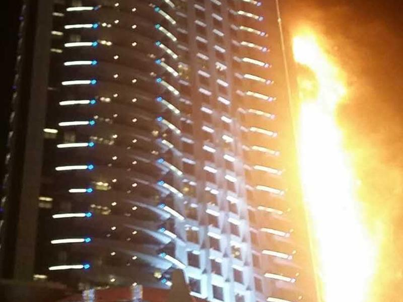 Hochhaus inDubai steht in Flammen