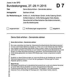 Antrag aus Sachsen-Anhalt für den Bundeskongress der Jusos vom 27.-29. 11. 2015 in Bremen, auf Seite 91 des Antragsbuchs