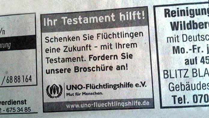 """""""Schenken Sie Flüchtlingen ihr Testament!"""": Anonymous kritisiert UN-Kampagne"""
