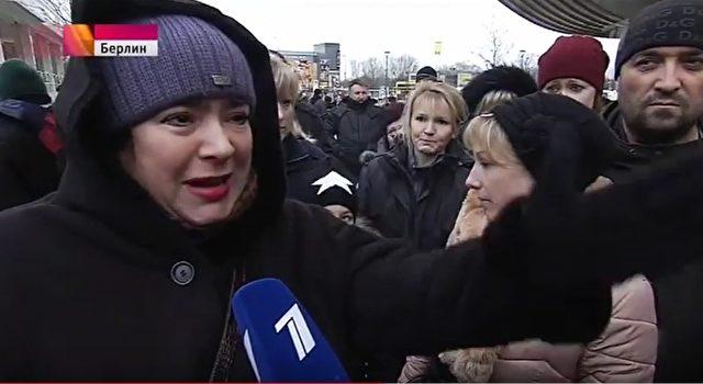 Deutsch-Russen in Marzahn gingen vor Empörung auf die Straße. Foto: Youtube / Screenshot Perwij Kanal Berlin