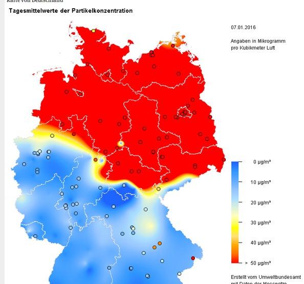 feinstaubbelastung deutschland karte Umweltbundesamt   Karte der Feinstaubbelastung in Deutschland am 7  feinstaubbelastung deutschland karte