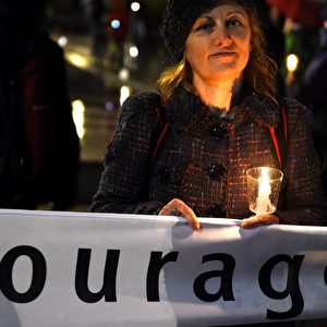 Demonstranten der Gegendemo zur Legida Foto: Getty Images
