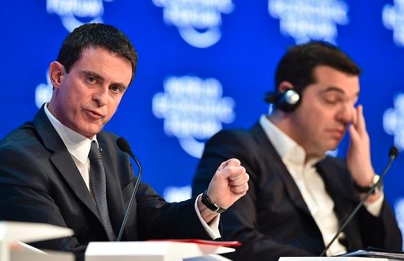 Französicher Premierminister Manuel Valls (L) und der griechische Premie Alexis Tsipras beim Weltwirtschaftsformun in Davos, am 21. Januar 2016. Foto: FABRICE COFFRINI/Getty Images