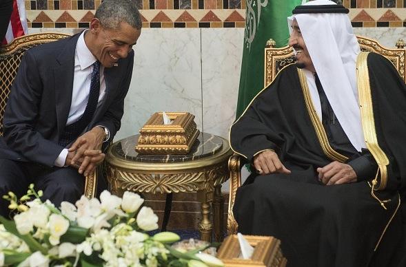 US-Präsident Barack Obama und der saudische König Salman während einem Treffen in Raid im Januar 2015 Foto: SAUL LOEB/Getty Images