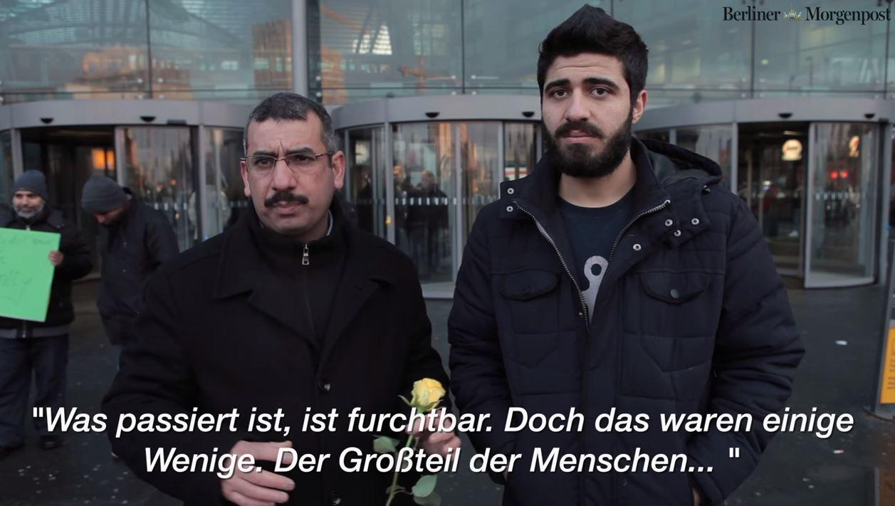 Blumen am Bahnhof Berlin – Flüchtlinge distanzieren sich von Übergriffen in Köln
