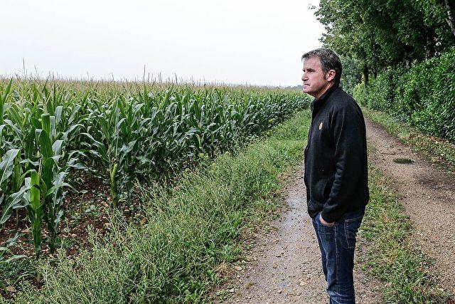 """Maisbauer Paul Francois steht am 28. Juli 2015 vor seinem Feld in Bernac. Der Mann hatte im April 2004 beim Reinigen eines Spritzgerätes eine starke Dosis von Dämpfen des Monsanto-Herbizids """"Lasso"""" eingeatmet und daraufhin eine starke Blutung erlitten. Er verklagte Monsanto und gewann. Foto: Thibaud MORITZ/AFP/Getty Images"""