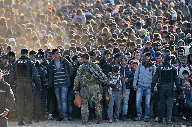 Migranten werden von der Polizei durch die Felder in Richtung einer Haltelager im Dorf Dobova begleitete, Slowenien. 26. Oktober 2015. Foto: Jeff J Mitchell / Getty Images