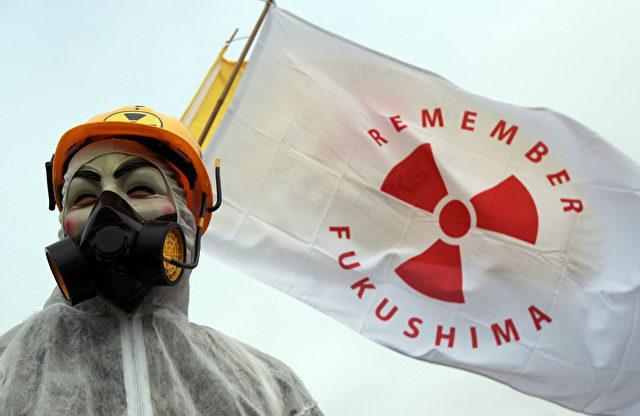 Ein Anti-Atomkraft-Aktivist am ersten Jahrestag der Katastrophe von Fukushima 2012 in England. Foto: Matt Cardy/Getty Images