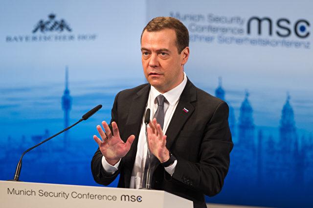 Der russische Ministerpräsident Dmitry Medvedev bei seiner Rede auf der Münchner Sicherheitskonferenz am 13. Februar 2016 Foto: Lennart Preiss/Getty Images