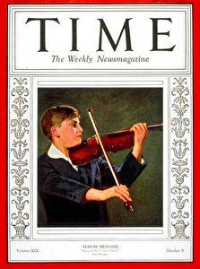 Der junge Geiger Menuhin auf dem TIME MAGAZINE am 22. Februar 1932.