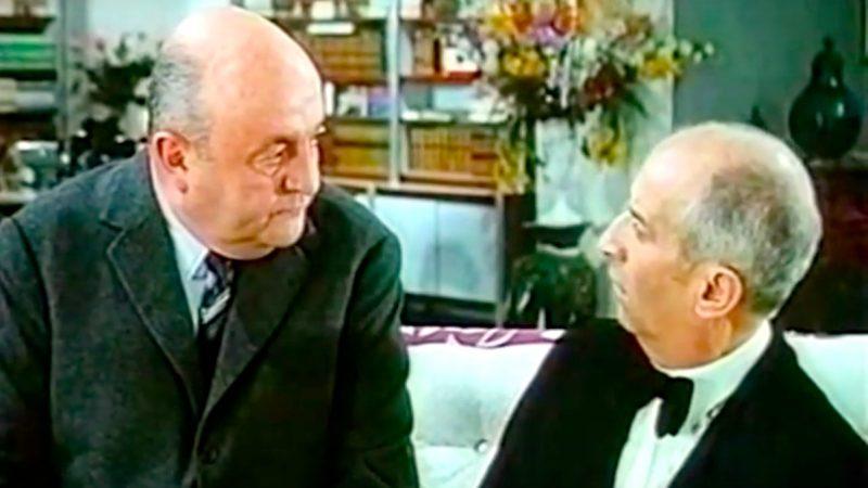 """Louis de Funès wird erpresst. """"Nein! - """"Doch! - """"Oh!"""