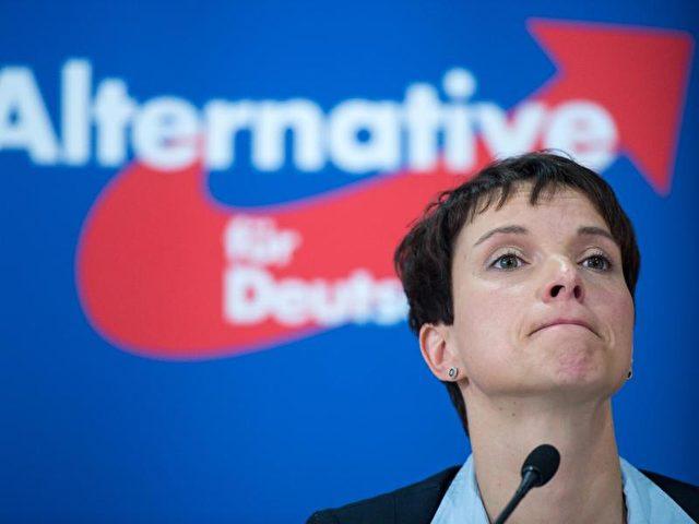 Frauke Petry, Bundesvorsitzende der AfD, äußert sich in Berlin zur Asyl- und Einwanderungspolitik. Foto: Bernd von Jutrczenka/Archiv/dpa