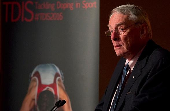 Ex-Präsident der World Anti-Doping Agency (WADA) Dick Pound auf einer Doping im Sport Konferenz in England 2016. Foto: JUSTIN TALLIS/Getty Images