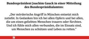 Bundespräsident Gauck zu den Anschlägen in München Foto: screenshot / epochtimes