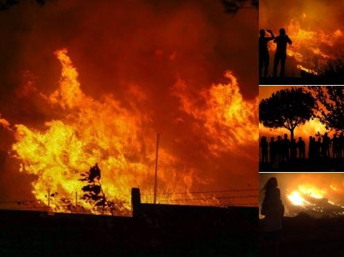 Großbrand nahe der Nato-Militärbasis LANDCOM in der Türkei Foto: Twitter/Screenshot