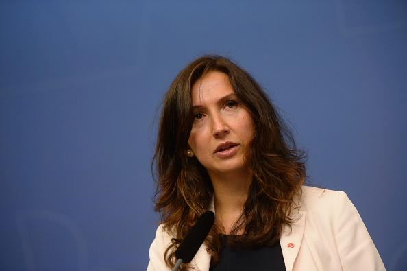 Aida Hadzialic bei der Pressekonferenz am 13. August 2016 in Stockholm. Foto: VILHELM STOKSTAD/AFP/Getty Images
