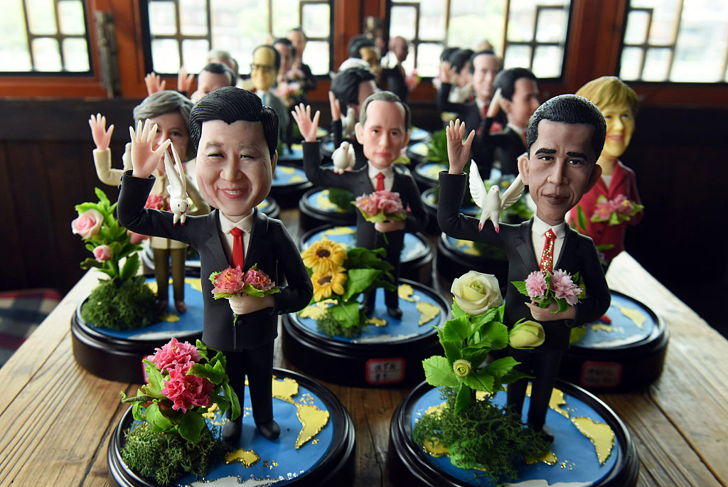 This photo taken on August 28, 2016 shows dough figurines of G20 Country Leaders made by folk craftsman Wu Xiaoli for welcoming the coming summit in Hangzhou, east China's Zhejiang province. The 11th G20 Leaders Summit will be held from September 4 to 5 in Hangzhou. / AFP / STR / China OUT (Photo credit should read STR/AFP/Getty Images)