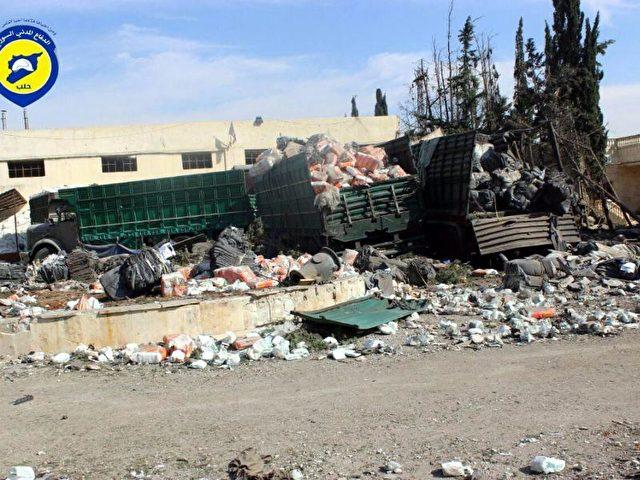 Als Reaktion auf die Bombardierung haben die Vereinten Nationen alle Hilfsgütertransporte in Syrien gestoppt. Foto:Syria Civil Defense/dpa