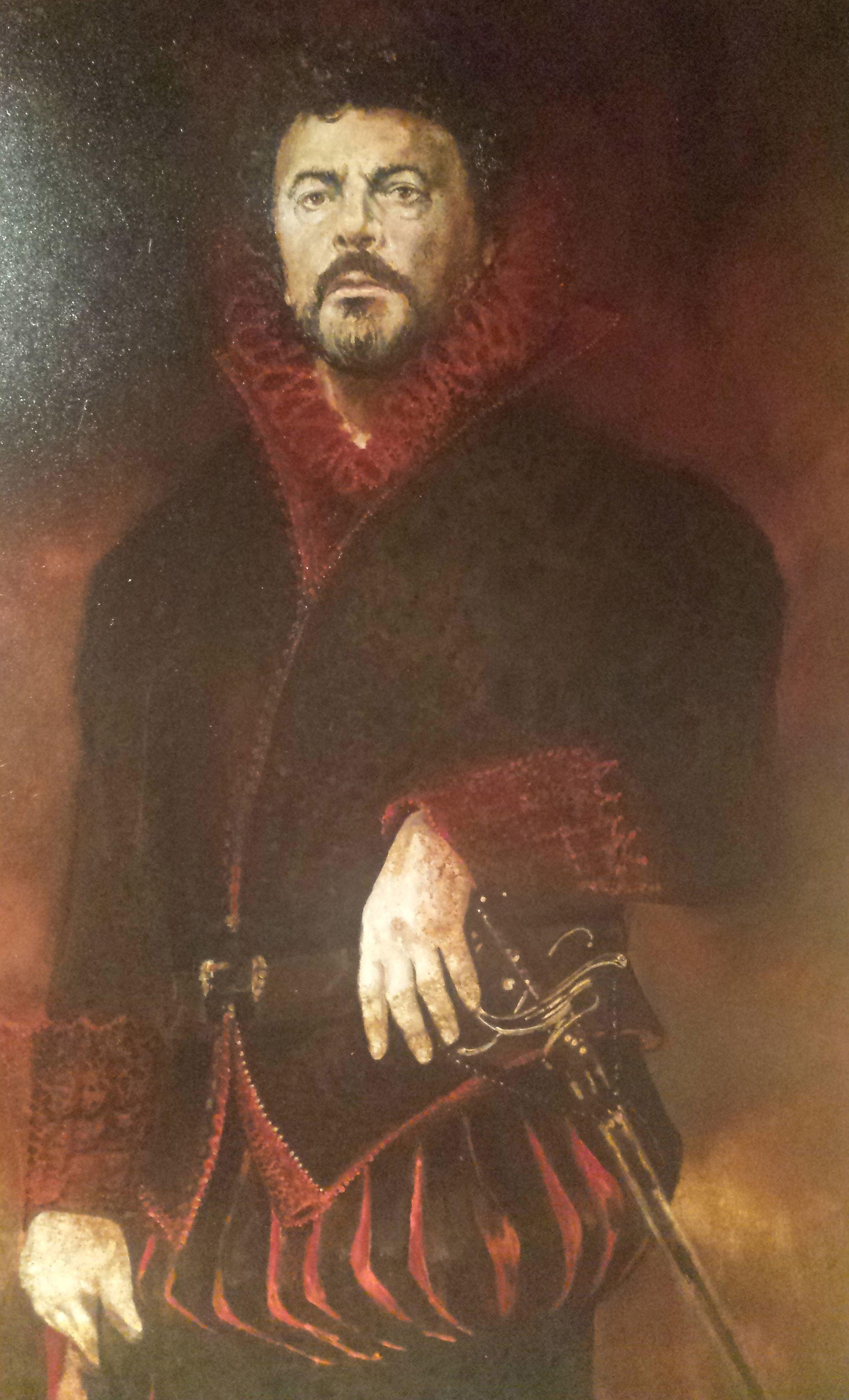 """Gemälde: Bernd Weikl als """"Figaro"""" bei seinem Debüt an der Wiener Staatsoper im Jahr 1972 im """"Barbiere di Siviglia"""" von Gioachino Rossini."""