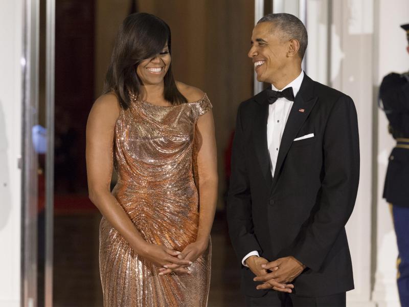 Michelle Obama begeistert bei letztem Staatsbankett mit Outfit