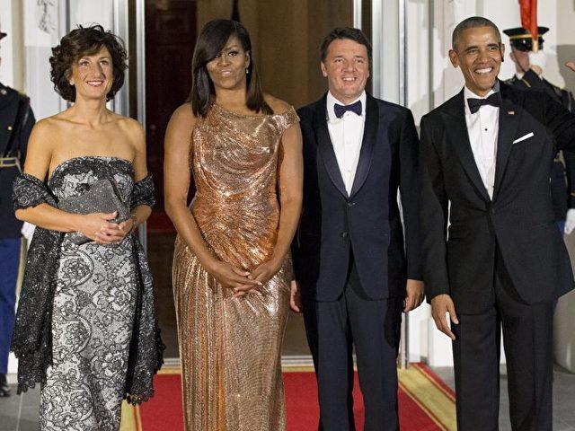 Barack Obama (r.) mit Michelle Obama (2. von l.) und dem italienischen Ministerpräsidenten Matteo Renzi und Ehefrau Agnese Landini im Weißen Haus. Foto: Michael Reynolds/dpa
