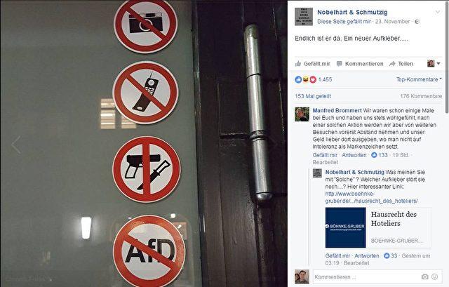 """Kreuzberger Sterne-Restaurant-Besitzer Wagner postete auf Facebook seine Eingangstüre. Seit Kurzem ist diese mit einem """"AfD-Verbots-Schild"""" versehen. Foto: Screenshot / Facebook"""