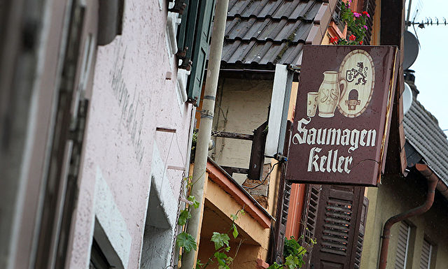 The sign of the Restaurant Saumagen Keller (pig stomach cellar) in the village of Kallstadt, southern Germany, is pictured on June 8, 2016.  Kallstadt owes its reputation to crisp white wines, stunning hiking trails and the local delicacy of pig's stomach (Saumagen). The village is also home of ancestors of the presumptive designated presidential US candidate of the Republican Party Donald Trump.  / AFP / DANIEL ROLAND / TO GO WITH AFP STORY BY Deborah COLE        (Photo credit should read DANIEL ROLAND/AFP/Getty Images)