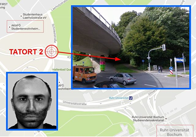 Der Täter sprach die Studentin (27) auf dieser Überführung über dem Hustadtring an, zerrte sie in das nahe Wäldchen und vergewaltigte sie. Foto: GoogleMaps/Polizei Bochum/Komposition EPT