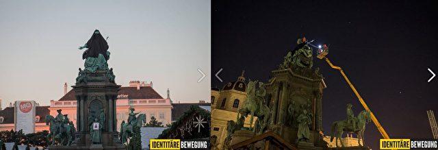 """Die """"Verhüllung"""" der Kaiserin wurde später wieder von den Behörden aufgehoben. Foto: Screenshot/Facebook.Identitäre Bewegung"""
