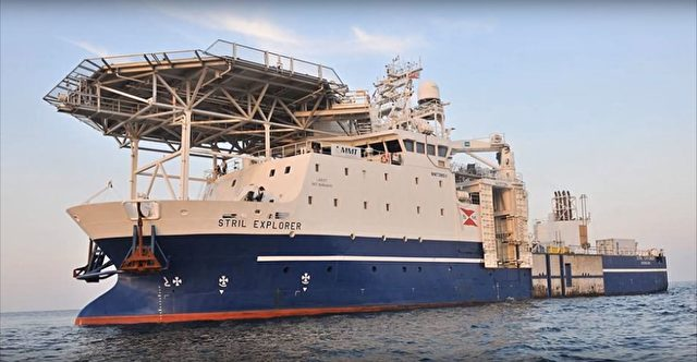 Die Forschungsplattform im Schwarzen Meer, die 'Stril Explorer'. Sie bietet neben Helikopterlandeplatz auch mehrere Tauchroboter zur Erforschung der Teiefsee. Foto: Screenshot/youtube