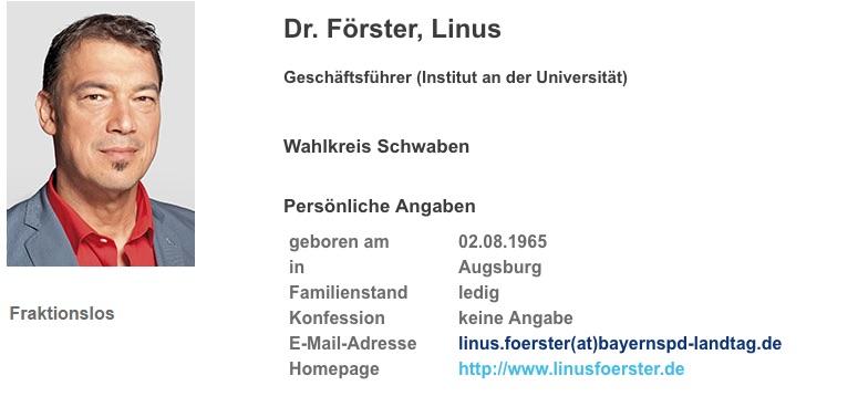 Linus Förster. Foto: Screenshot/www.bayern.landtag