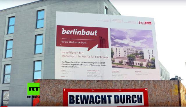 Neubau der Gemeinschaftsunterkunft für Migranten in Berlin Marzahn. Foto: Screenshot YouTube / RT