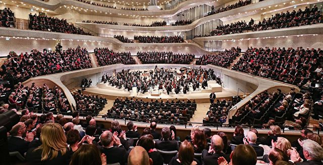 "This picture shows an inside view taken during the opening of the Elbphilharmonie concert hall in Hamburg, northern Germany, on January 11, 2017. Around nine and a half years after laying the foundation stone, the new concert house nicknamed ""Elphi"" and sitting ontop of an old warehouse building will have its gala opening on January 11, 2017. / AFP / POOL / Christian Charisius        (Photo credit should read CHRISTIAN CHARISIUS/AFP/Getty Images)"