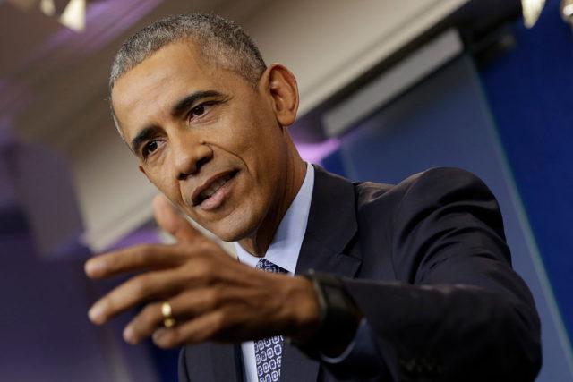 Barack Obama auf seiner letzten Pressekonferenz im Weißen Haus. 18. Januar 2017. Foto: YURI GRIPAS/AFP/Getty Images