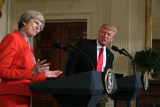 US-Präsident Donald Trump und die britische Premierministerin Theresa May am 27. Januar 2017 im Weißen Haus. Foto: Getty Images
