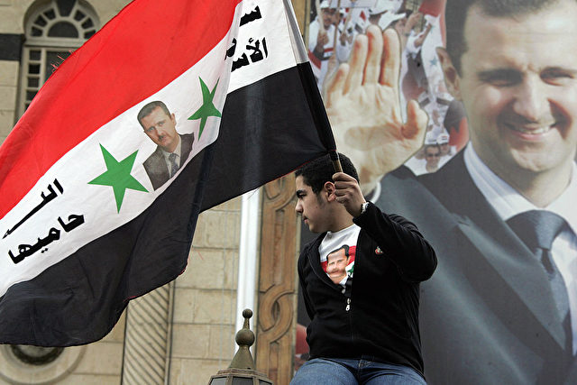 Pro-Assad Demonstration in Damaskus, Syrien. 3. März 2008. Foto: LOUAI BESHARA/AFP/Getty Images
