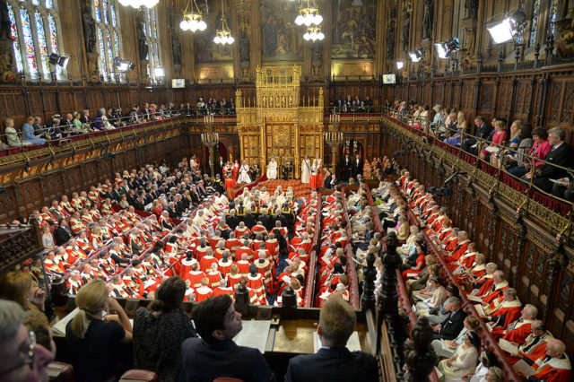 LONDON, ENGLAND - MAY 27: A general view of the State Opening of Parliament in the House of Lords, at the Palace of Westminster on May 27, 2015 in London, England. (Photo by Arthur Edwards - WPA Pool/Getty Images)