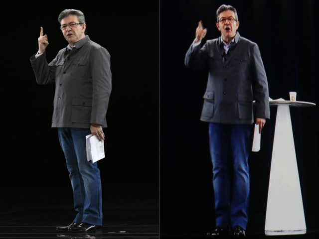 TOPSHOT - (COMBO) This combination of pictures created on February 05, 2017 shows French presidential election candidate for the far-left coalition La France insoumise Jean-Luc Melenchon (L) gesturing as he delivers a speech during his public meeting, in Chassieu near Lyon and his hologram (L) pictured during a meeting in La Plaine Saint Denis, northern Paris. Melenchon and his hologram appeared in Lyon and Paris at same time during a double live rally. / AFP / JEAN-PHILIPPE KSIAZEK AND THOMAS SAMSON (Photo credit should read JEAN-PHILIPPE KSIAZEK,THOMAS SAMSON/AFP/Getty Images)