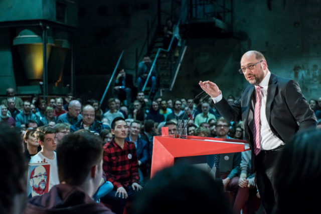 LEIPZIG, GERMANY - FEBRUARY 26: Martin Schulz, chancellor candidate of the German Social Democrats (SPD), speaks at a campaign event on February 27, 2017 in Leipzig, Germany. Schulz announced his candidacy in January and has since seen strong support in recent polls that give a lead over current chancellor and Christian Democrat Angela Merkel. Germany is scheduled to hold federal elections in September. Today was his first large-scale campaign event in eastern Germany, where the populist and right-wing Alternative fuer Deutschland (AfD) has garnered a strong base of support. (Photo by Jens-Ulrich Koch/Getty Images)