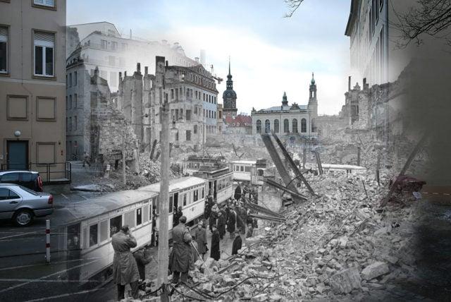 Fotomontage: Die Zerstörung von Dresden durch die Alliierten am 13-14 Februar 1945. Foto: Sean Gallup/Getty Images