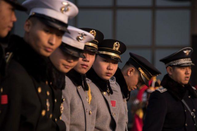 Südkoreanische Soldaten vor dem Besuch von US-Verteidigungsminister James Mattis in Seoul. 3. Februar 2017. Foto: ED JONES/AFP/Getty Images