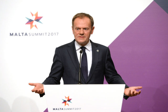 EU-Ratspräsident Donald Tusk in Malta. 3. Februar 2017. Foto: MATTHEW MIRABELLI/AFP/Getty Images