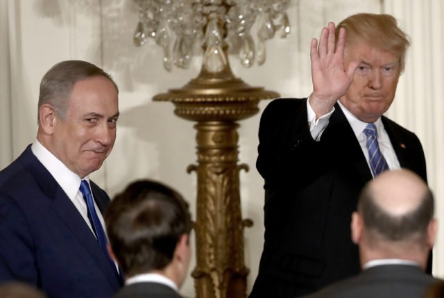 WASHINGTON, DC - FEBRUARY 15:  U.S. President Donald Trump (R) departs with Israel Prime Minister Benjamin Netanyahu (L) following a joint news conference at the East Room of the White House February 15, 2017 in Washington, DC. President Trump hosted Prime Minister Netanyahu for talks for the first time since Trump took office on January 20.  (Photo by Win McNamee/Getty Images)