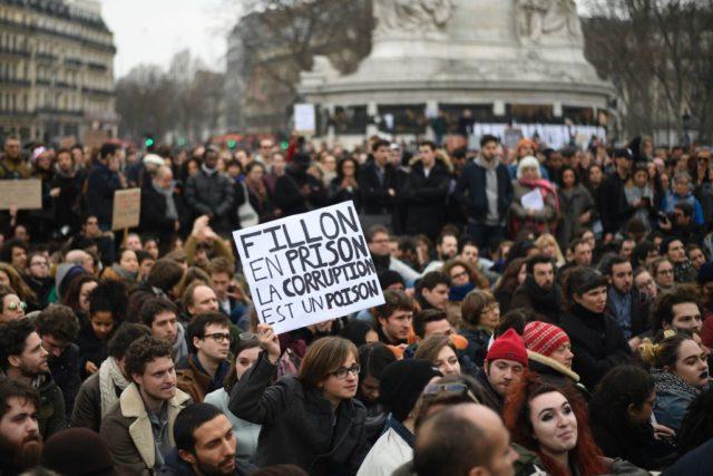 Proteste in Frankreich gegen Korruption in der Politik. 19. Februar 2017. Foto: LIONEL BONAVENTURE/AFP/Getty Images