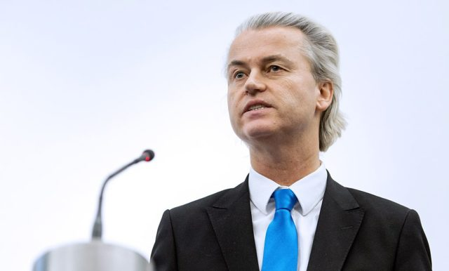 Geert Wilders, the Dutch leader of the far-right Party for Freedom (PVV), speaks during the presentation of the 'NExit' report in The Hague, The Netherlands, on February 6, 2014. Wilders and his party presented a 'report' in which they present a study on what they consider would be the consequences and impact on The Netherlands if it were to leave the European Union. AFP PHOTO / ANP / KOEN VAN WEEL  ***Netherlands out***        (Photo credit should read Koen van Weel/AFP/Getty Images)
