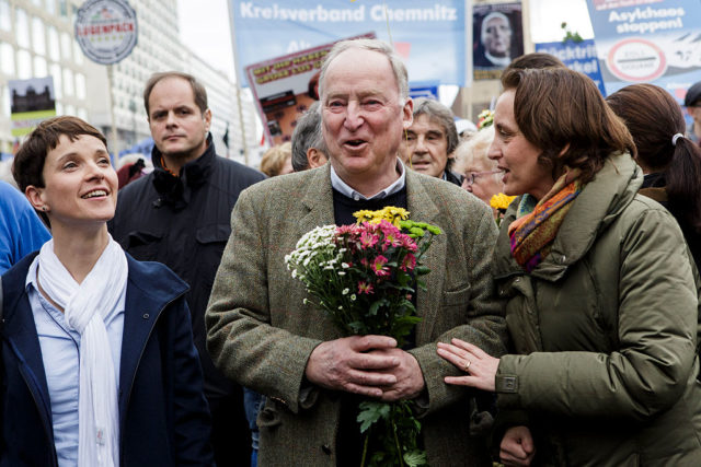 BERLIN, GERMANY - NOVEMBER 07:  Frauke Petry (L), Chairwoman of the Alternative fuer Deutschland (Alternative for Germany) political party, Alexander Gauland (C), Vice-Chairman of the AfD and Beatrix von Storch (R), AfD member of the European Parliament, walk in the first line at a rally in the city center on November 6, 2015 in Berlin, Germany. The AfD, which has seen its popularity swing upward as Germany grapples with the migrants flood, is campaigning in local elections in Saxony-Anhalt scheduled for March of 2016 that will be a strong indicator of public sentiment in eastern Germany towards the migrants. The AfD, a relatively new political party that began with a right-of-center Eurosceptic platform, has seen some of its leading members use increasingly right-wing rhetoric in order to court anti-migrant votes. Petry herself strikes moderate tones and has attempted to publicly distance herself from the party's most inflammatory speaker, Bjoern Hoecke of Thuringia, who has recently used neo-Nazi jargon and themes in his speeches.  (Photo by Carsten Koall/Getty Images)