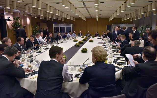 European Union heads of state and government participate in a round table meeting at a EU summit in Brussels on February 19, 2016.  British Prime Minister David Cameron appeared to close in on a reform deal to keep his country in the EU after two days and nights of haggling with European leaders at a Brussels summit. / AFP / POOL / Martin Meissner        (Photo credit should read MARTIN MEISSNER/AFP/Getty Images)