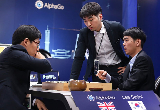 South Korean professional Go player Lee Se-dol competes against Google's AlphaGo on March 13, 2016 in Seoul, South Korea. Lee Se-dol played a five-game match against a computer program developed by a Google, AlphaGo.